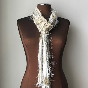 Cream Tweed, Adjustable Scarf, (AS56)