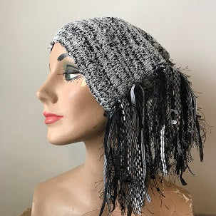 Black & Grey Tweed, Funky Chic Hat, (FH93)