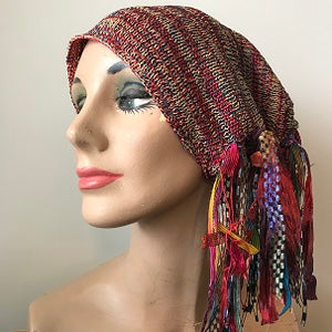 Red & Mustard Tweed, Funky Chic Hat, (FH92)