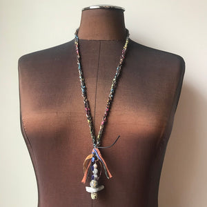 Fiber Necklace w/Stones, (NF36)
