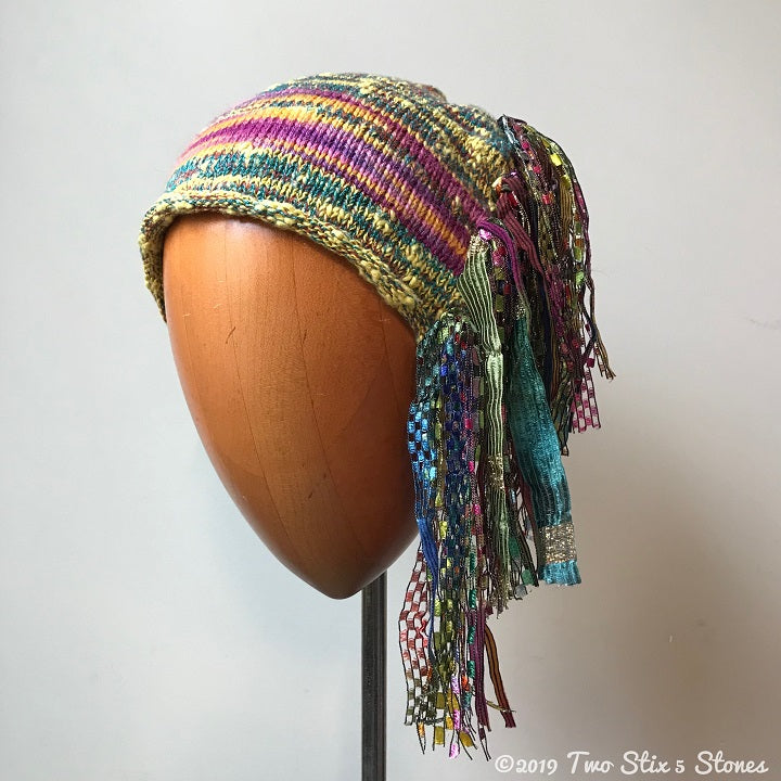 Yellow/Green/Pink/Red Tweed Signature *Funky Chic Hat*