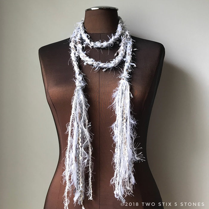 White Tweed w/Metallic Accents Scarf/Belt/Headband