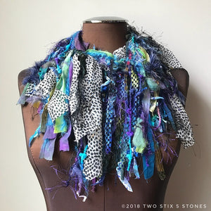 Electric Blues/Purples w/Leopard & Metallic Accents Exotic Scarf