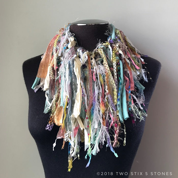 Pink/Blue/Green Toned Toned Exotic Scarf