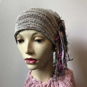 Purple & Pale Green Tweed *Funky Chic Hat* (FH16)