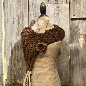 Brown Tweed Shawl w/Tassel