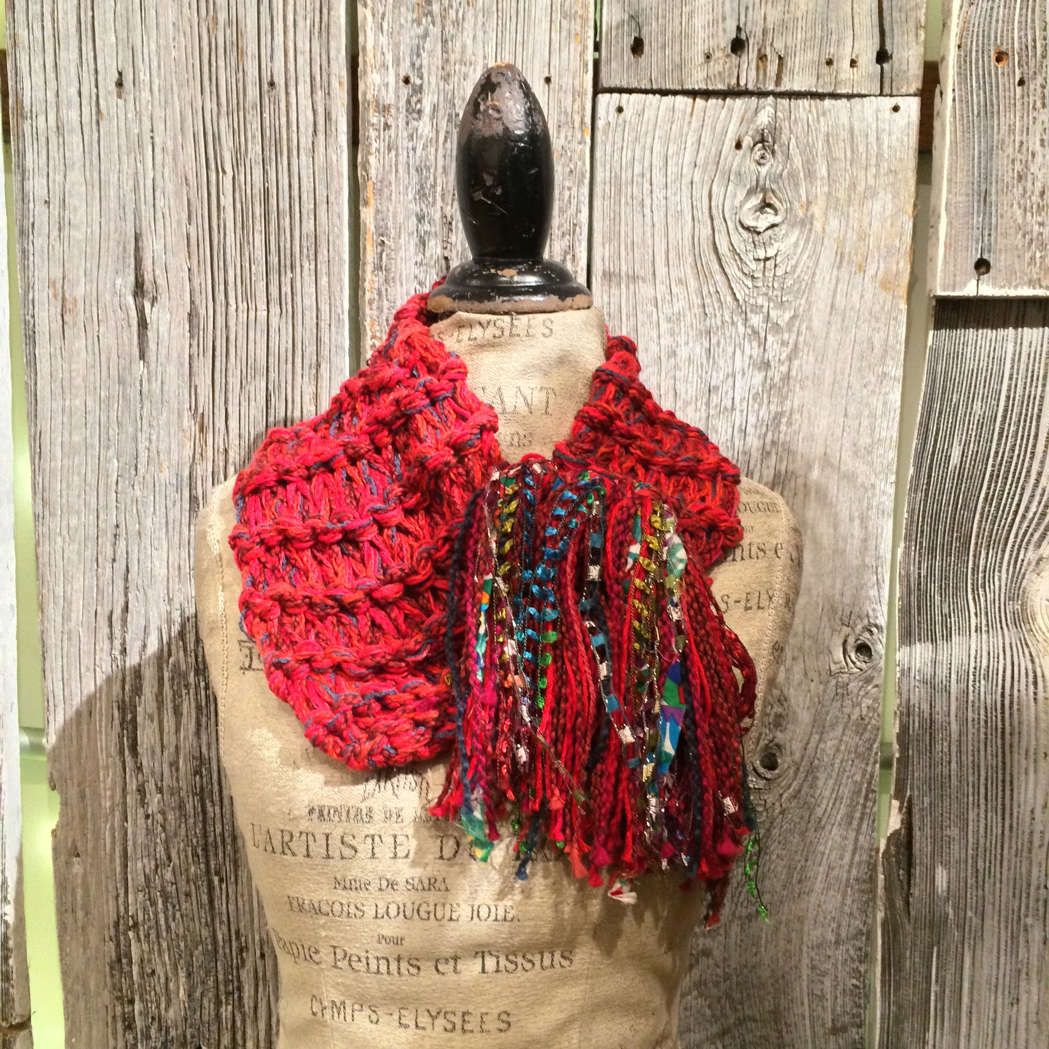 Red Tweed Shawlette w/Fringe