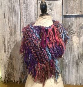 Blue & Wine Tone Variegated Shawl w/Fringe