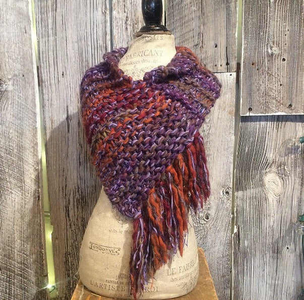 Orange Purple Variegated Wool Tweed Shawl w/Fringe