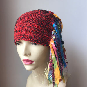 Red Tweed Funky Chic Hat, (FH17)