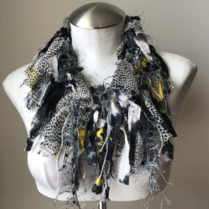 Black & Ivory w/Yellow Accents Exotic Scarf, (ES03)