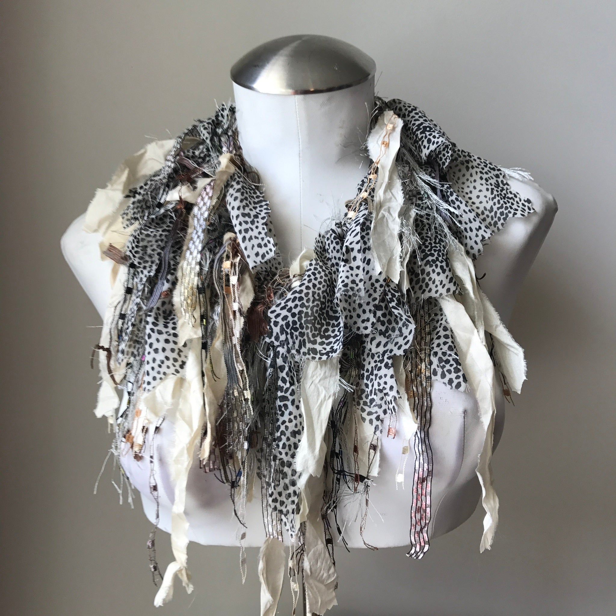 Black, Ivory & Grey Toned Exotic Scarf, (ES06)