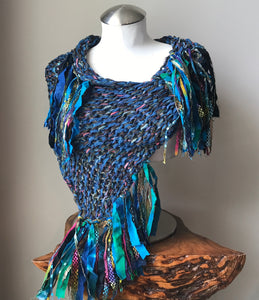 Blue Tweed Shawl w/Fringe(SH705)