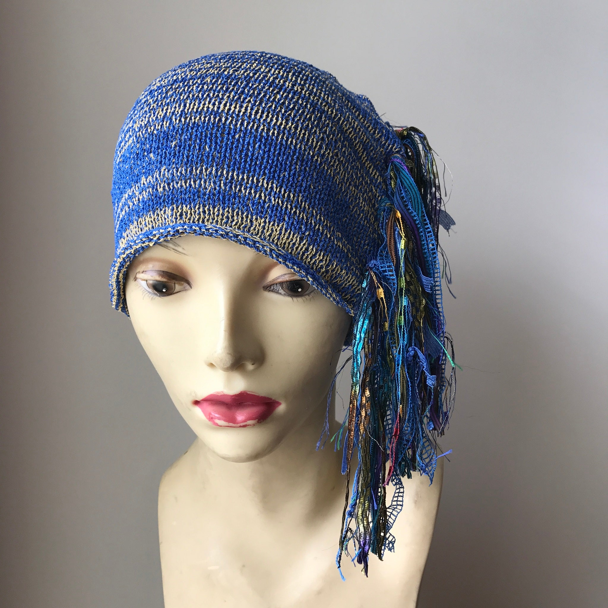 Blue & Gold Tweed Funky Chic Hat, (FH18)
