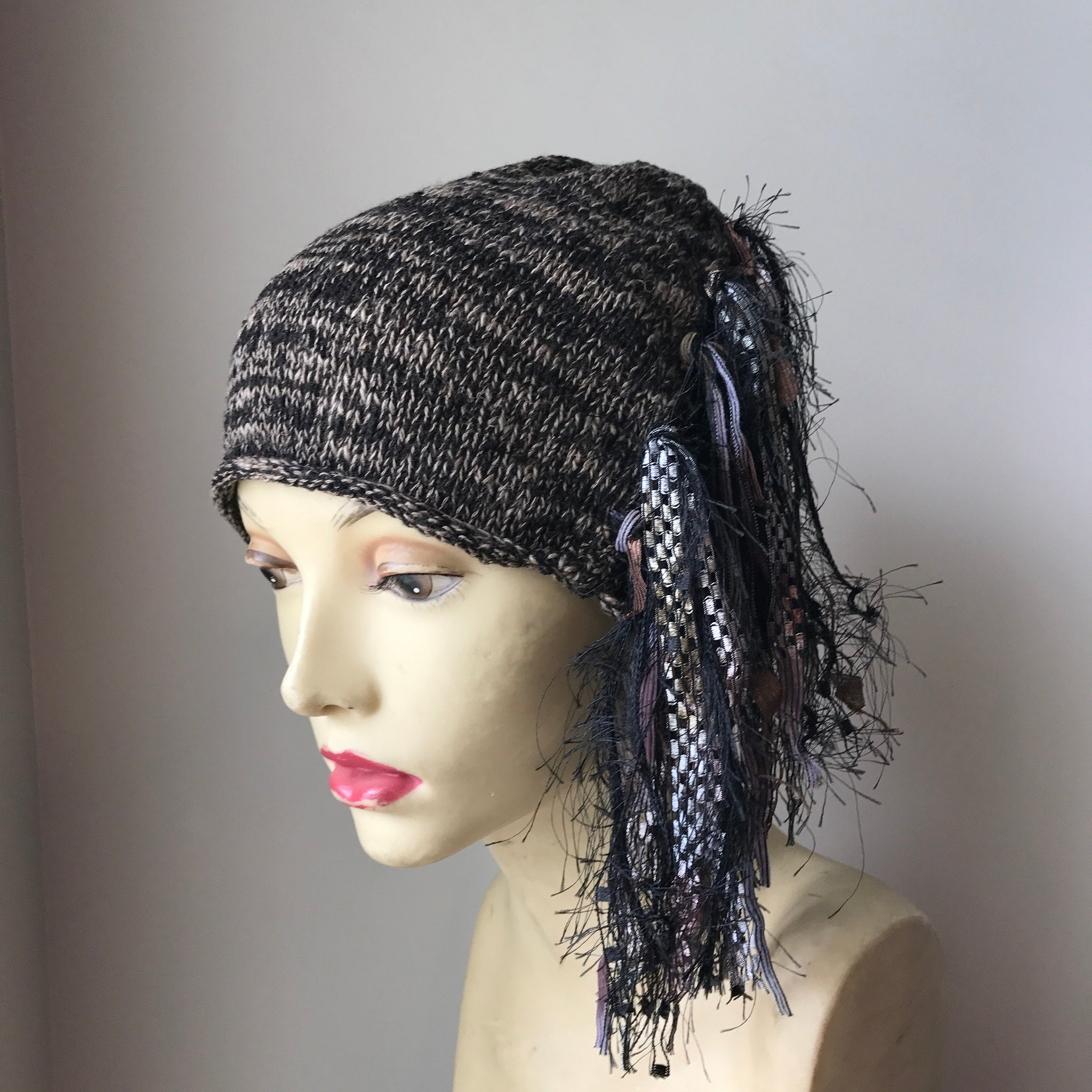Tan & Black Tweed Funky Chic Hat (FH20)