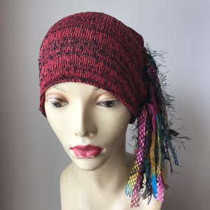 Deep Red & Black Tweed Funky Chic Hat, (FH28)