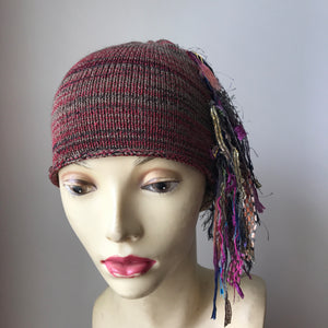 Burgundy, Grey & Black Tweed Funky Chic Hat, (FH25)