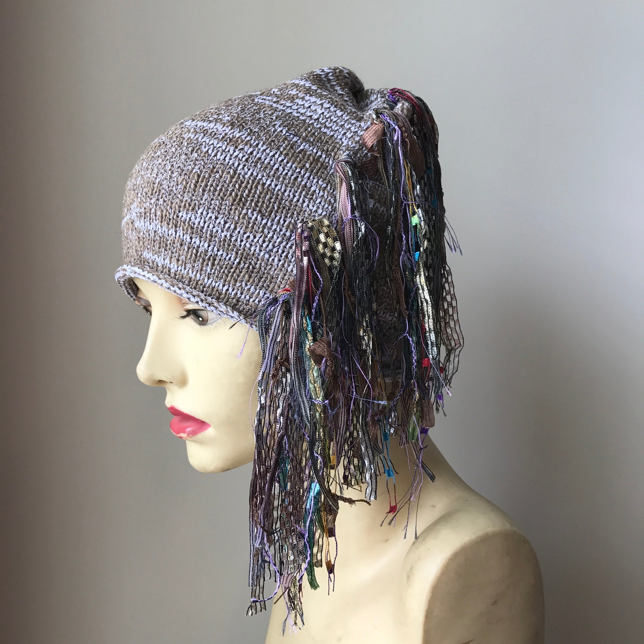 Deep Tan & Lavender Funky Chic Hat, (FH23)