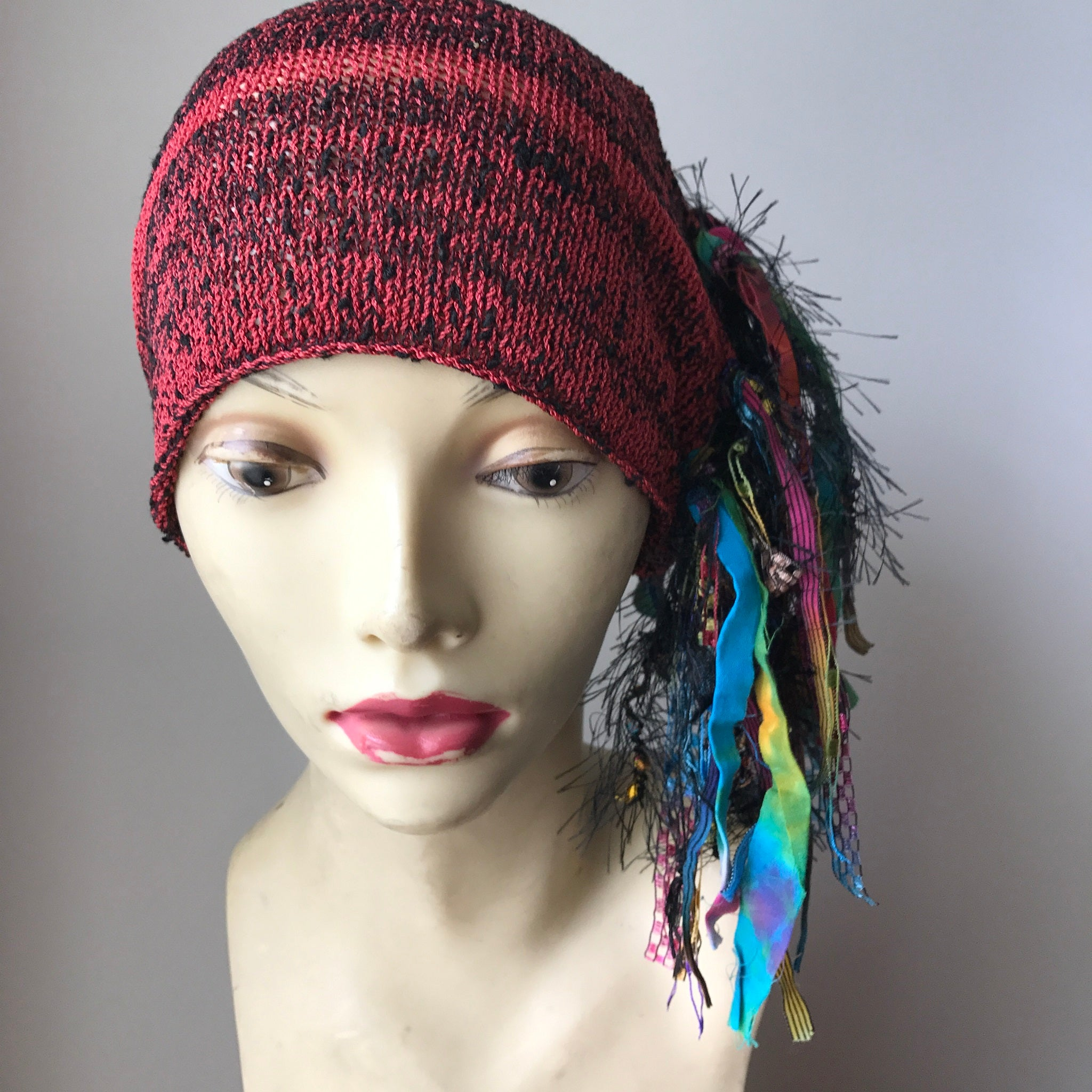 Deep Red & Black Tweed Funky Chic Hat, (FH22)