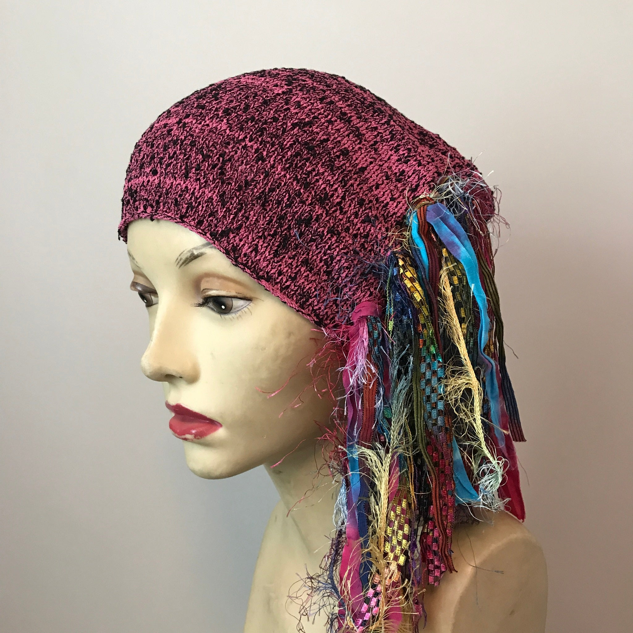 Pink & Black Tweed Funky Chic Hat, (FH30)