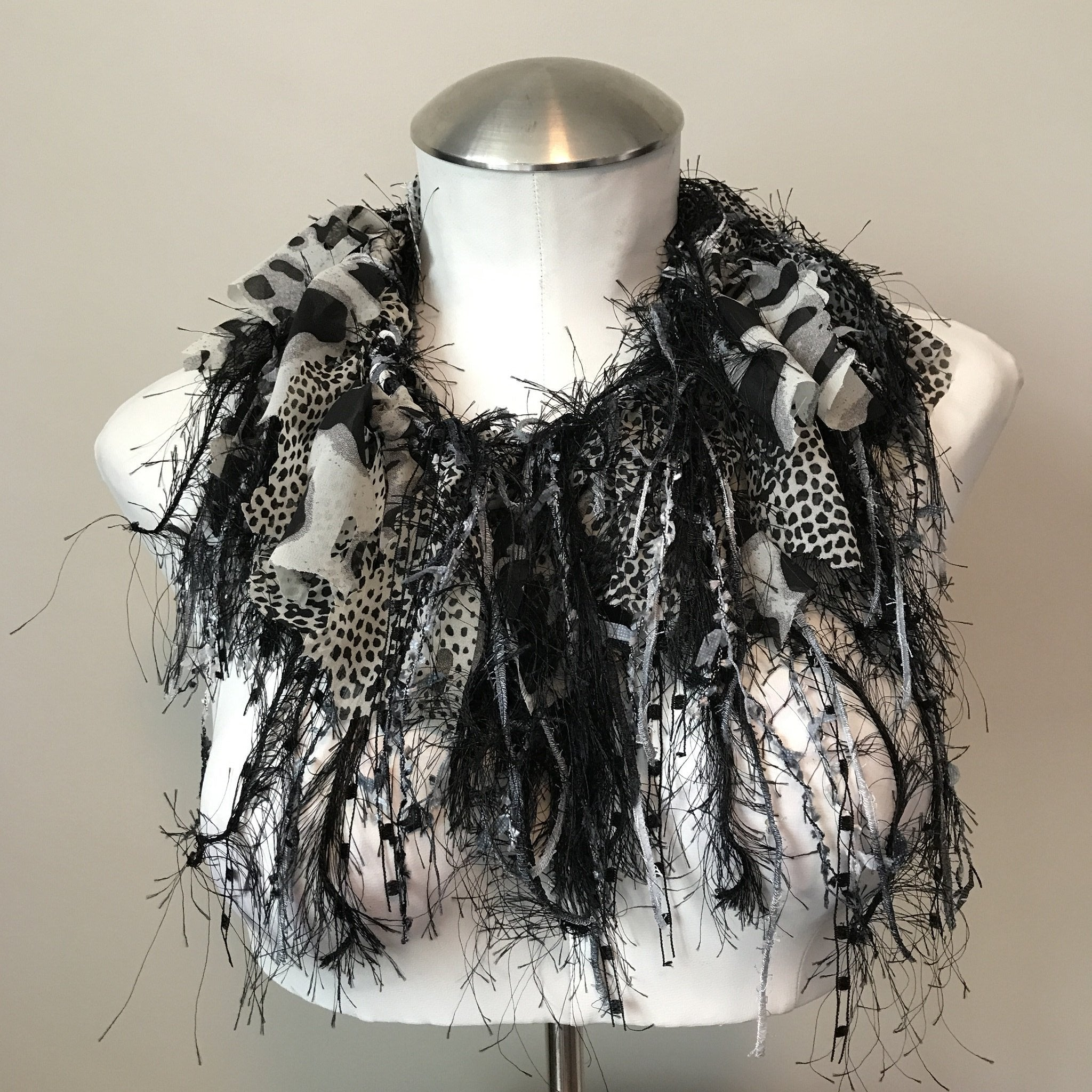 Black/White/Grey Exotic Scarf, (ES08)