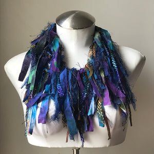 Purple, Blue, Green Toned Exotic Scarf w/Metallic Accents, (ES12/ES13)