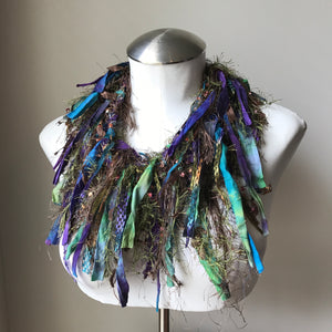 Brown, Green, Purple Toned Exotic Scarf, (ES16)