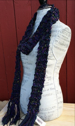 Luxe Purple Tweed Scarf w/Fringe