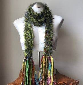 Green Funky Chic Metallic Scarf w/Purple Accents, (LS01)
