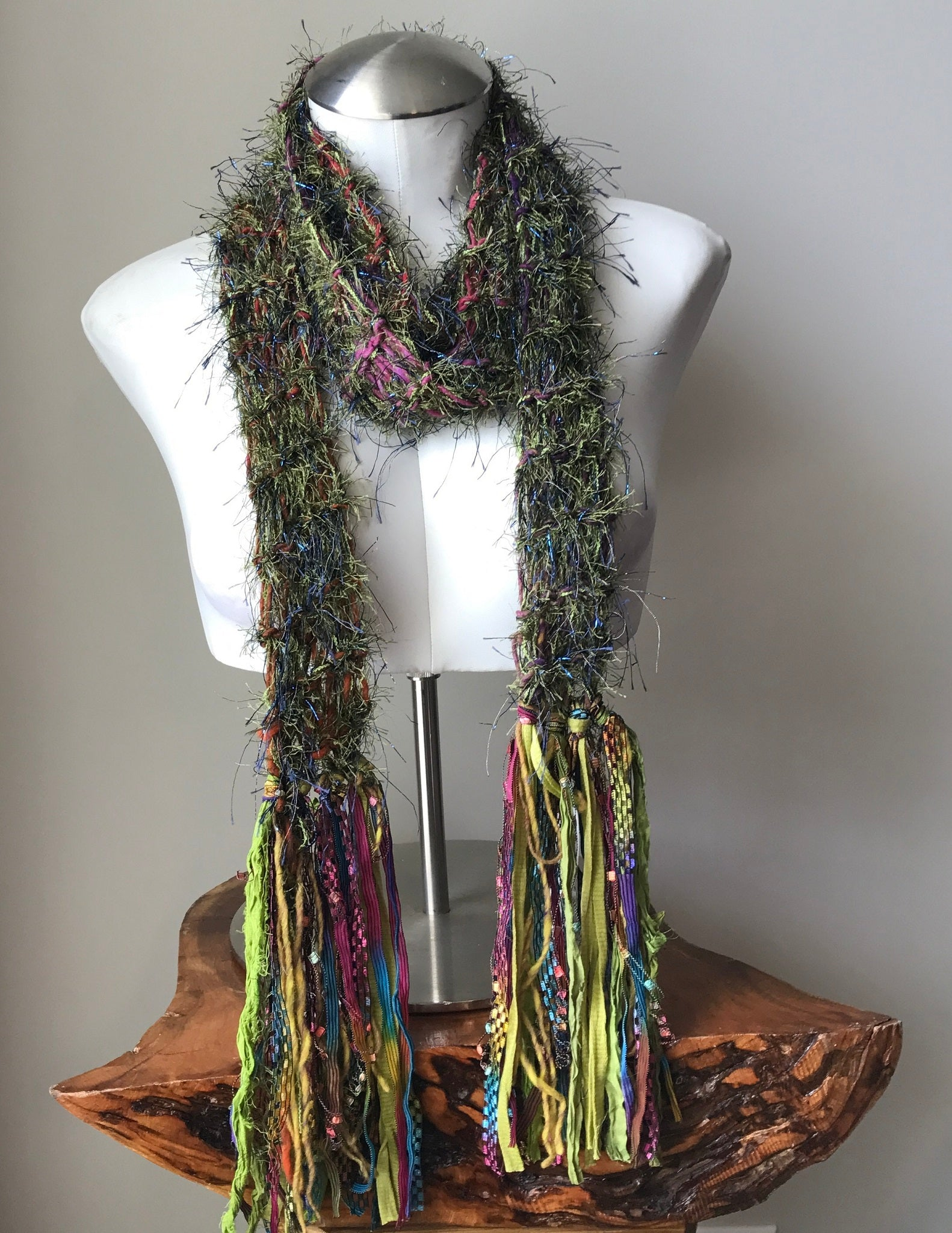 Green Funky Chic Scarf w/Purple & Pink Accents, (LS02)