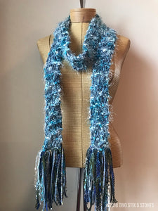 Blue Tweed Scarf w/Fringe