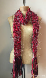 Red Tweed Scarf w/Fringe