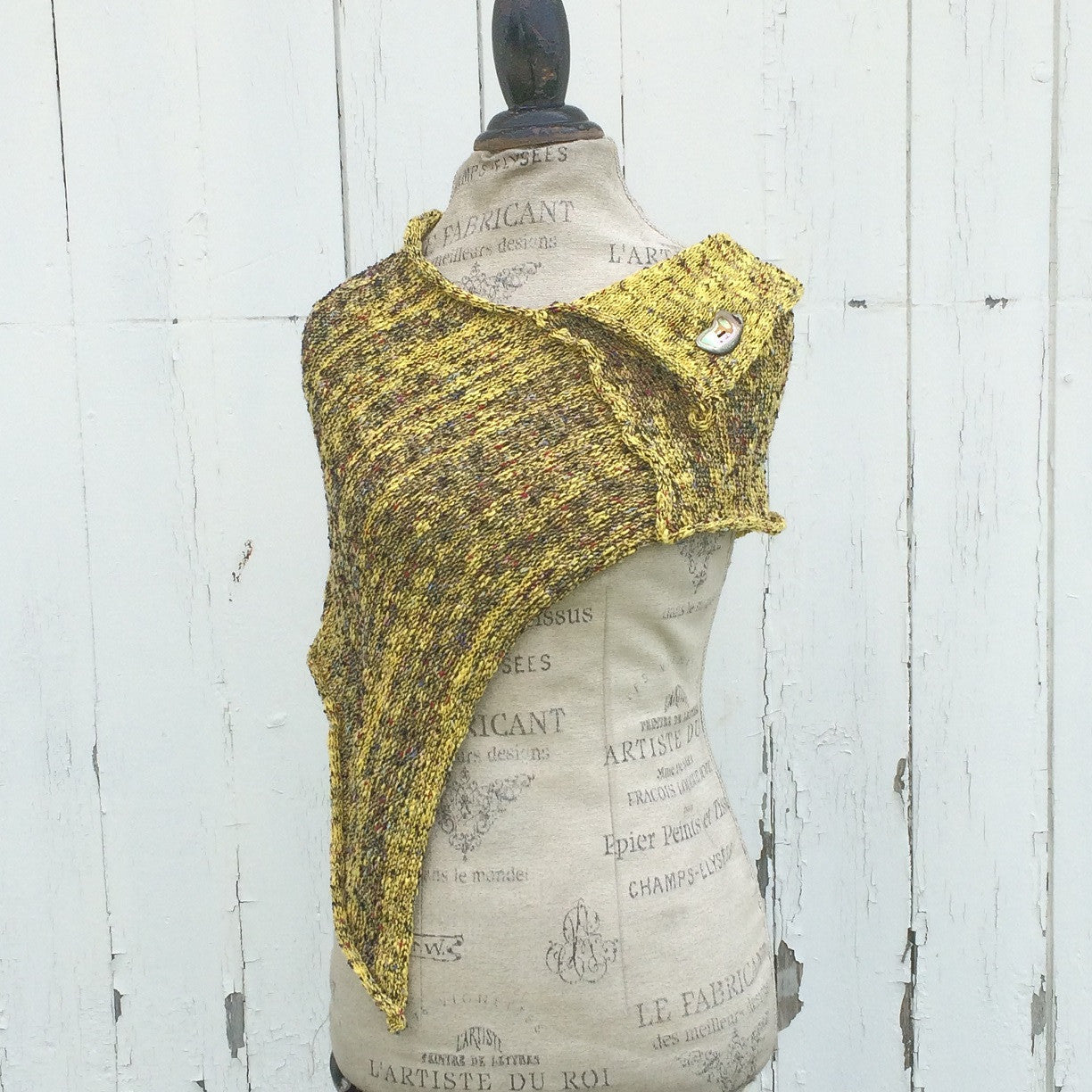Mustard Tweed Fine Knit Shawl