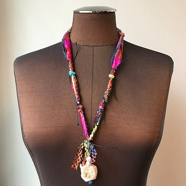 Fiber Necklace w/Stones, (NF22)