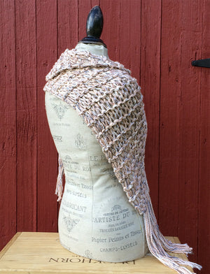 Natural Peach Tweed Shawl w/Fringe