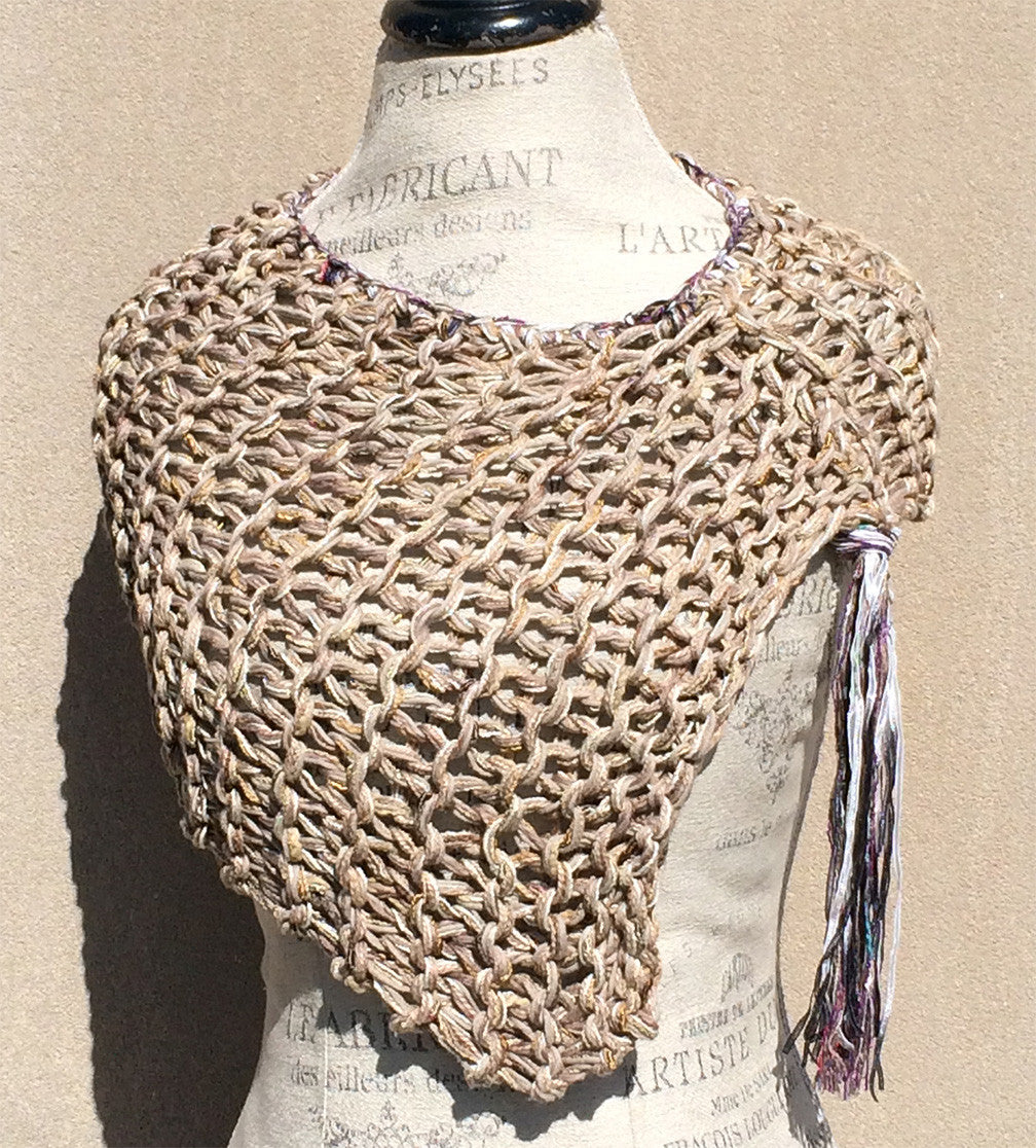 Oatmeal Tweed Shawl w/Luxury Fiber Fringe Accent