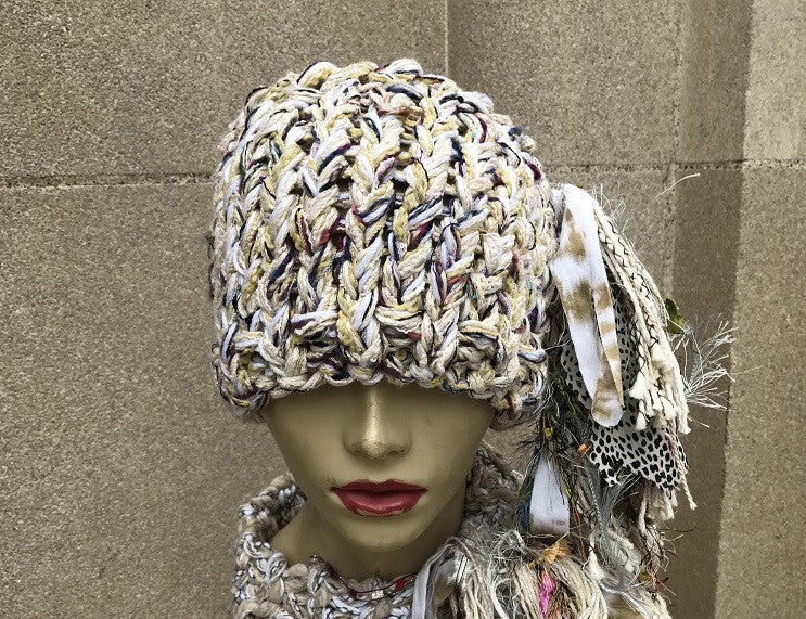 Funky Chic Creamy Yellow Tweed Ponytail/Bun Hat, (PB2)
