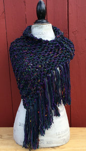 Purple Tweed Shawl w/Fringe