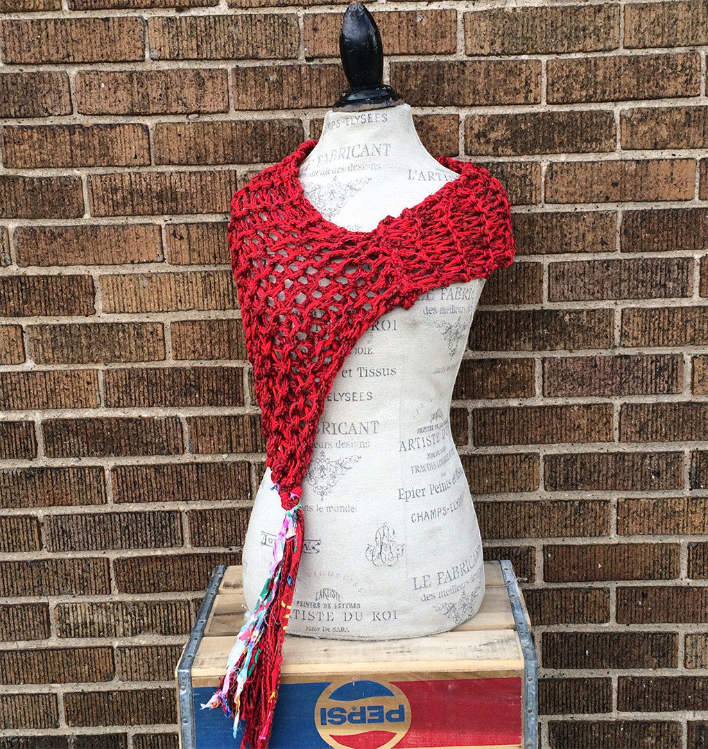 Red Tweed Shawl w/Tassel