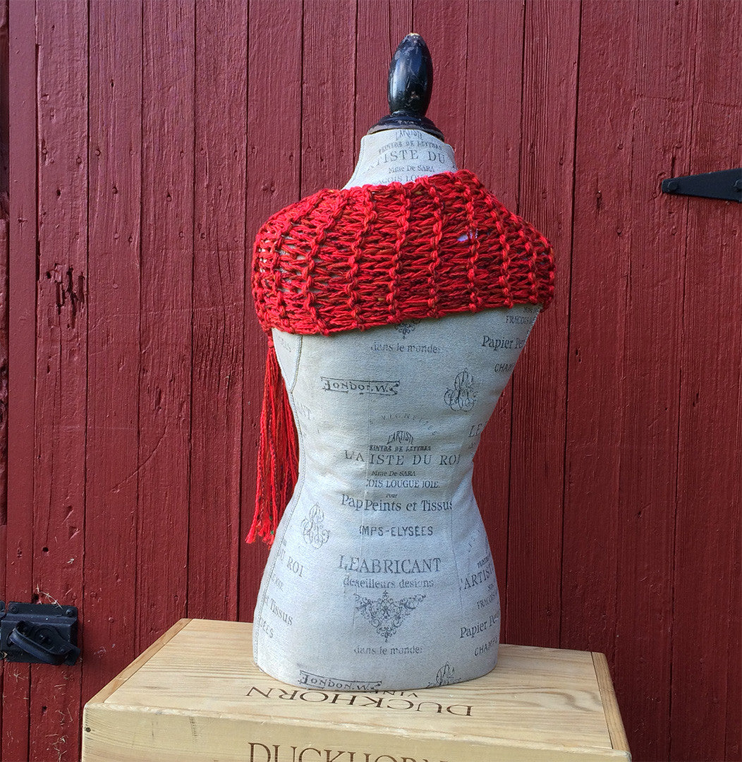 Red Tweed Shawl w/Fringe