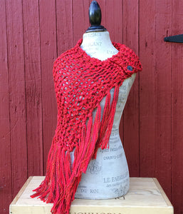 Red Tweed Shawl w/Fringe & Button