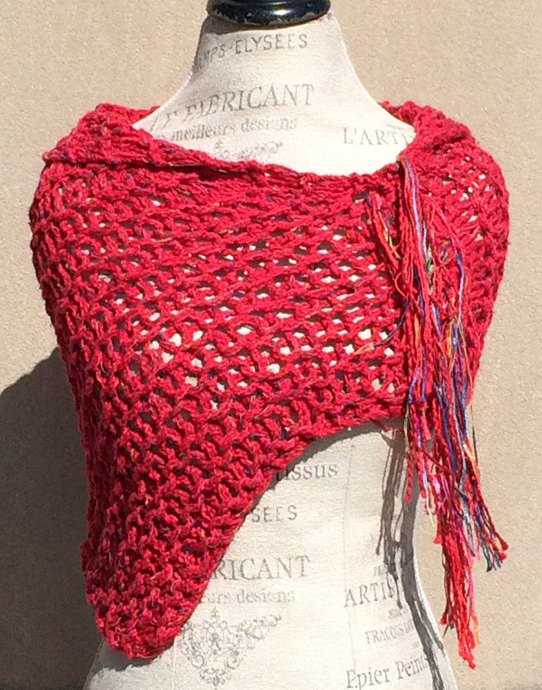 Red Tweed Fringe Shawl w/Tassel