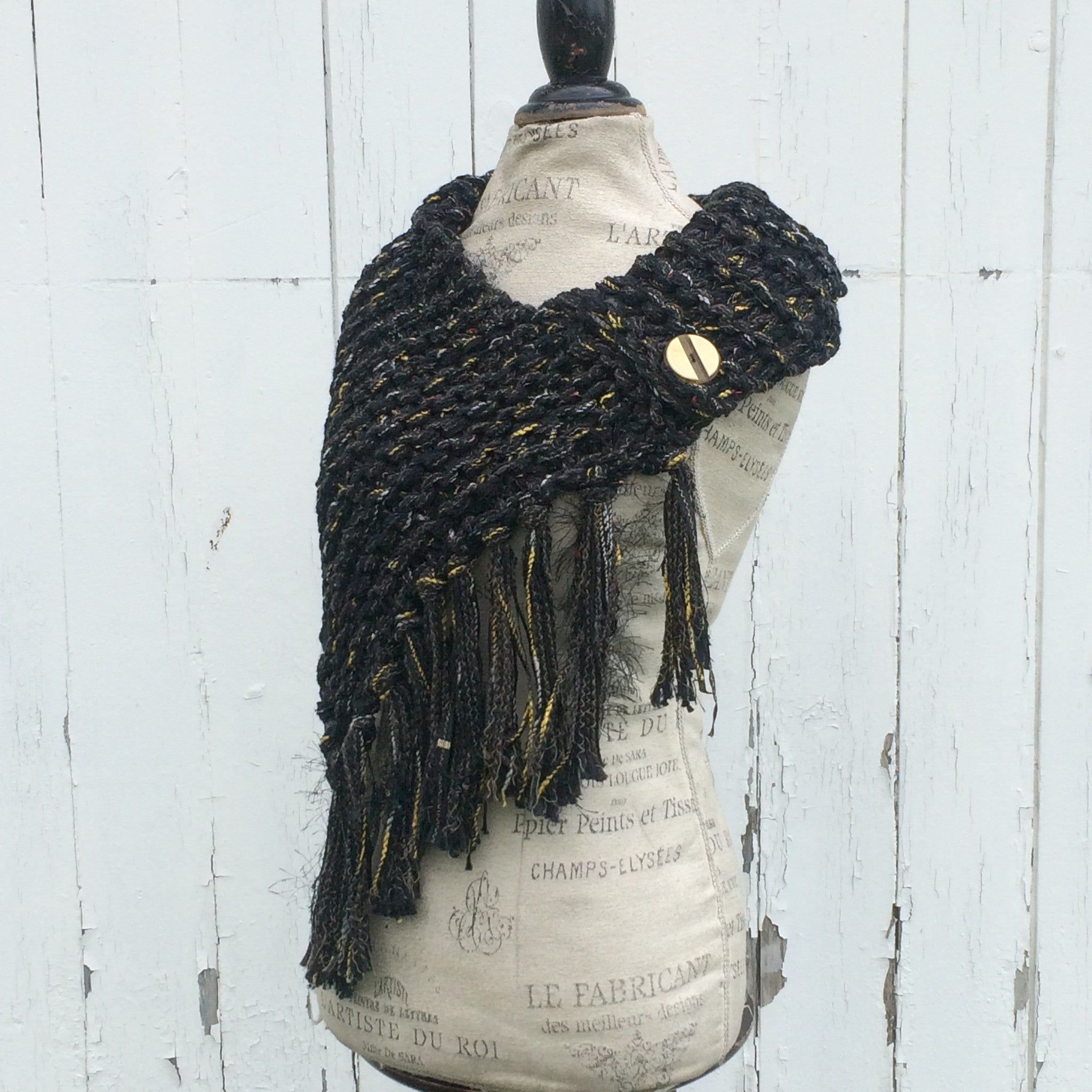 Luxe Dense Black Tweed Shawl w/Fringe