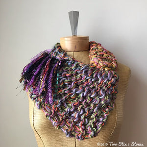 Lavender/Green/Orange Tweed Shawlette w/Fringe