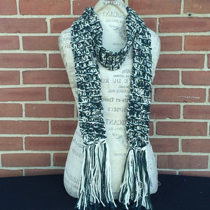 Unisex Green & White Scarf w/Tweed Specks, (SC54)