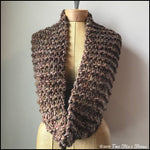 Brown Tweed Infinity Scarf w/Metallic Accents