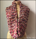 Red & Orange Tweed Infinity Scarf w/Metallic Accents