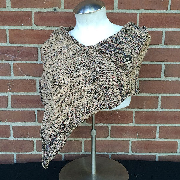 Fine Knit Tan Tweed Shawl w/Ceramic Button, (SH55)
