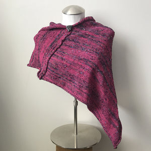 Fine Knit Hot Pink Tweed Shawl w/Ceramic Button, (SH701)
