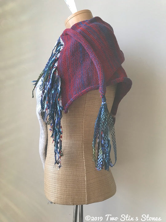 White/Red/Blue Tweed Shawl w/Fringe & Tassel